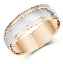 Men's 9ct White & Rose Gold Matt & Polished 7mm Band