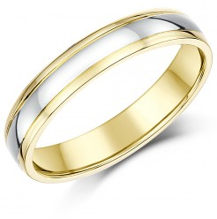 4mm 18ct Two Colour Gold Court Shape Wedding Ring