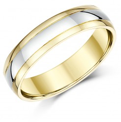5mm 18ct Two Colour Gold Court Shape Wedding Ring