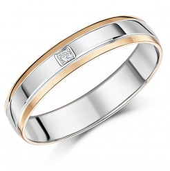 5mm Men's 9ct Rose Gold Diamond Set Band & Sterling Silver