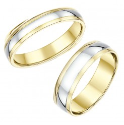 His & Hers 4&6mm Matching Two Colour 18ct Wedding Rings