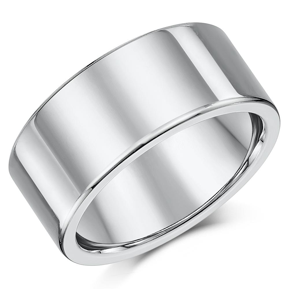 Titanium Flat Court Shaped Wedding Ring 10mm