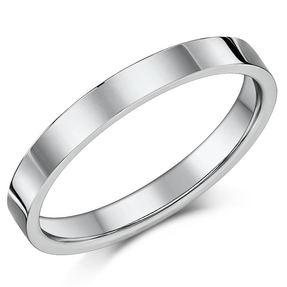 Titanium Flat Court Shaped Wedding Ring 3mm