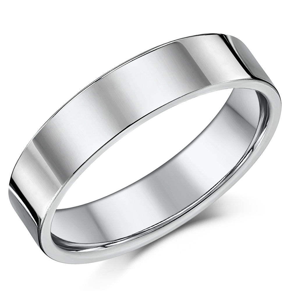 5mm Cobalt Ring Flat Court High Polished Wedding Band Unisex Band