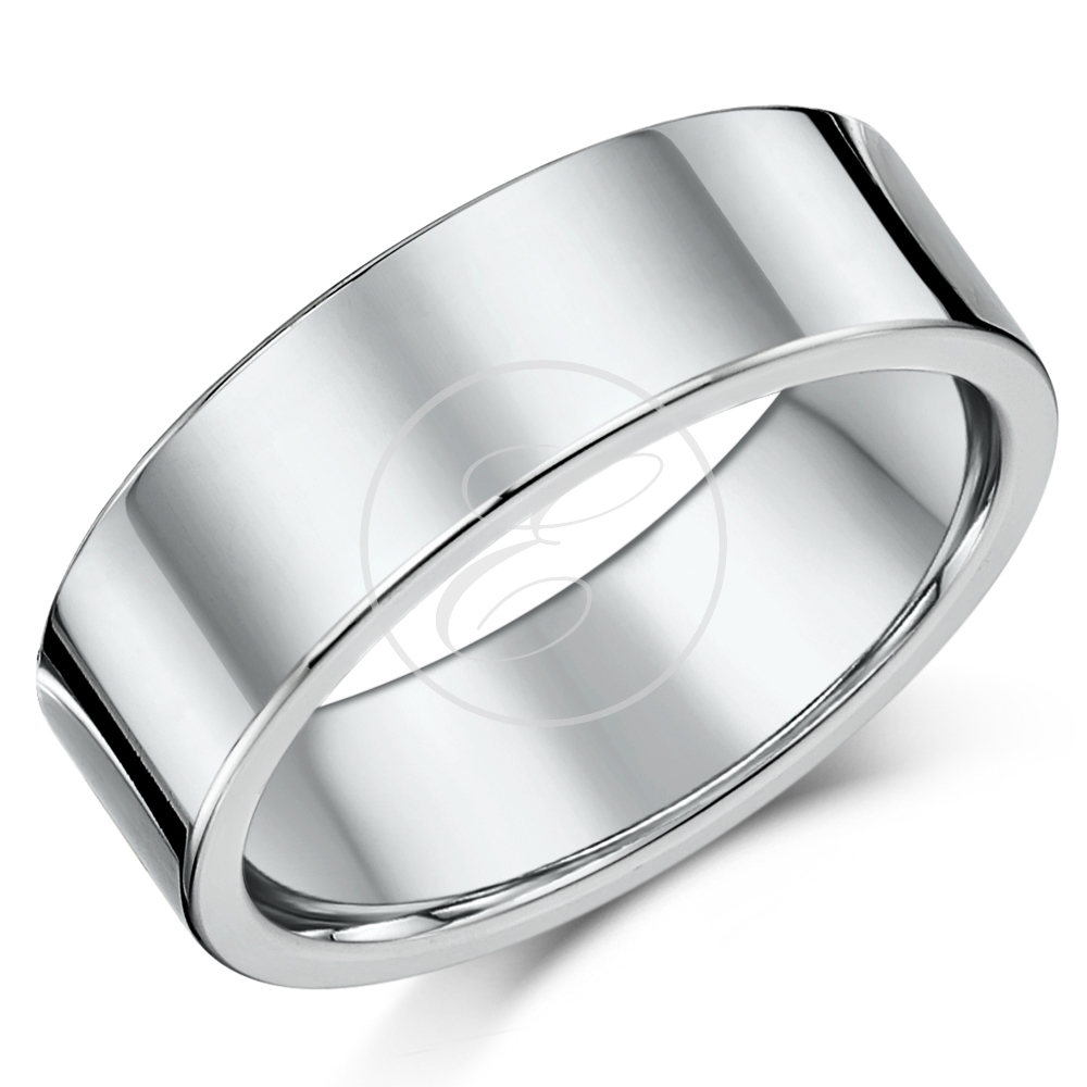 7mm Flat Court Sterling Silver Wedding Ring Band