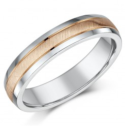 4mm 9ct Rose Gold & Silver Matt & Polished Two Colour Wedding Ring Band