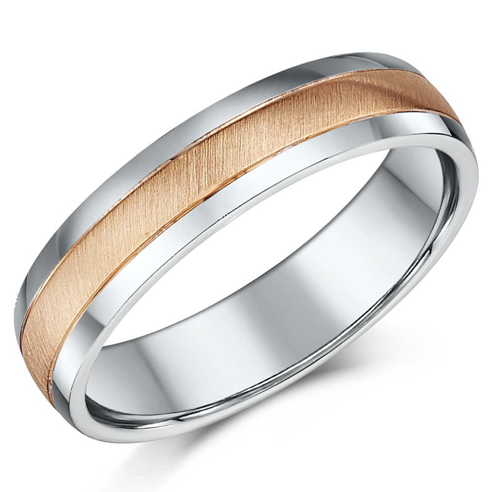 5mm 9ct Rose Gold & Silver Matt & Polished Two Colour Wedding Ring Band