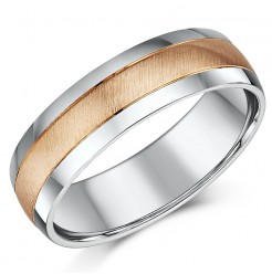 6mm 9ct Rose Gold & Silver Matt & Polished Two Colour Wedding Ring Band