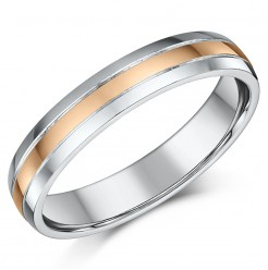 4mm 9ct Rose Gold & Silver Highly Polished Two Colour Wedding Ring Band