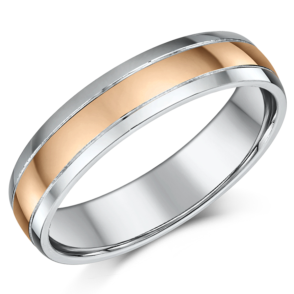 5mm 9ct Rose Gold & Silver Highly Polished Two Colour Wedding Ring Band