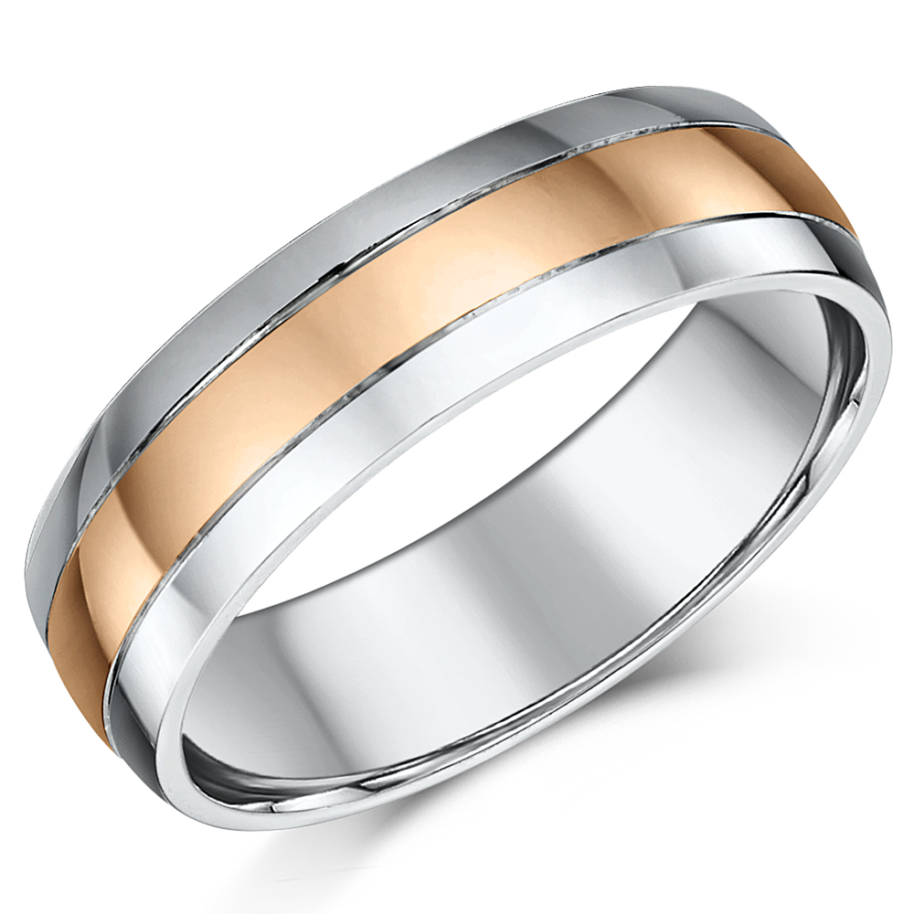 6mm 9ct Rose Gold & Silver Highly Polished Two Colour Wedding Ring Band
