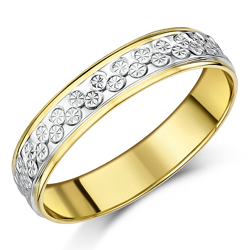 5mm 9ct Yellow White Gold Two Tone Designer Wedding Ring Band