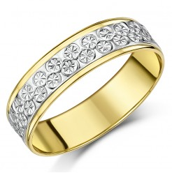 6mm 9ct Yellow & White Gold Two Tone Designer Wedding Ring Band