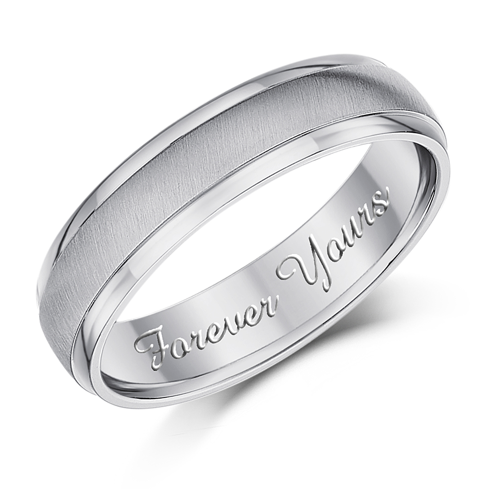 5mm Titanium Band \'Forever Yours\' Script Engraved Ring