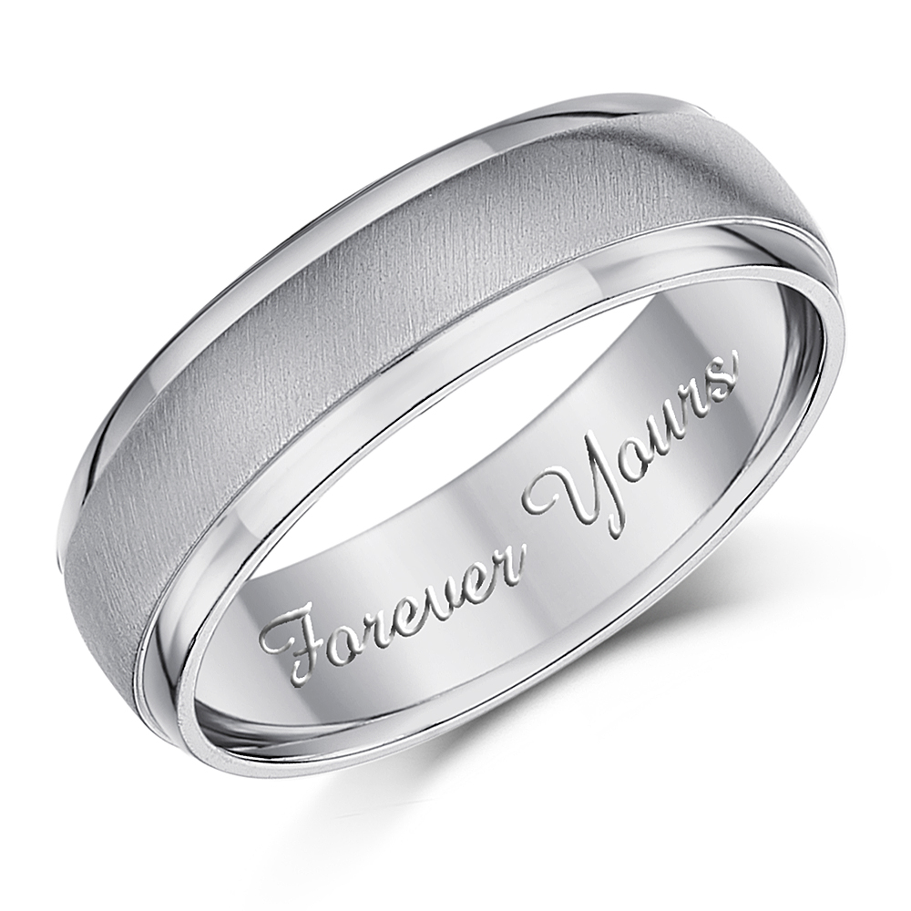 6mm \'Forever Yours\' Titanium Engagement Ring Matt & Polished Wedding Band
