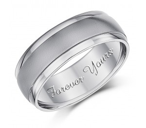 7mm Engraved Wedding Ring Forever Yours' Patterned Engagement Ring