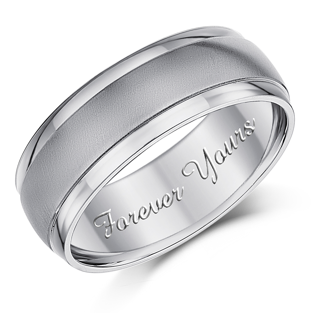 7mm Engraved Wedding Ring Forever Yours\' Patterned Engagement Ring