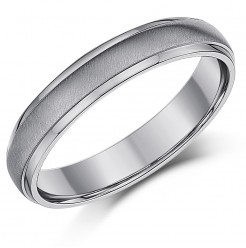 4mm Titanium Matt & Polished Wedding Ring Band