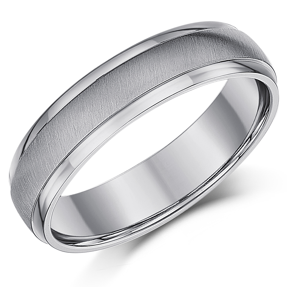 5mm Titanium Matt & Polished Wedding Ring Band