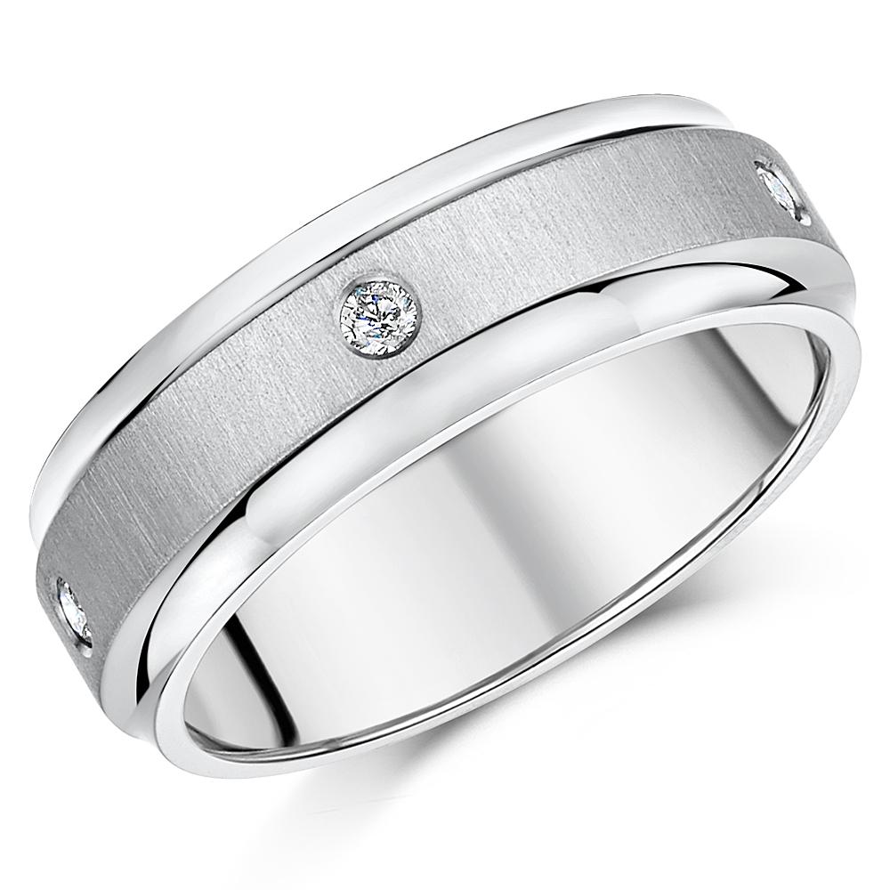 7mm Titanium Diamond Wedding Ring Band