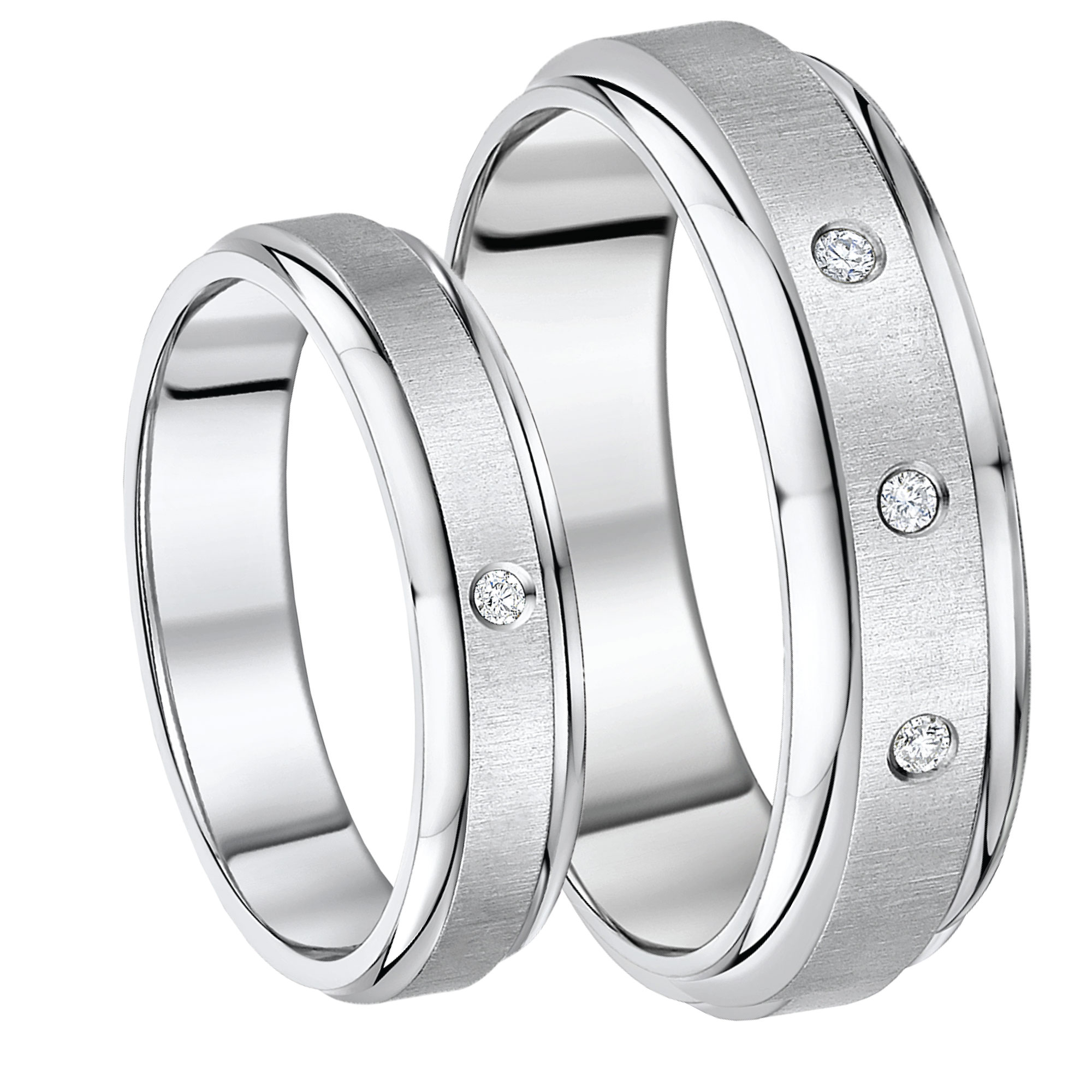 His and Hers Diamond Titanium Set Wedding Bands 5&7mm