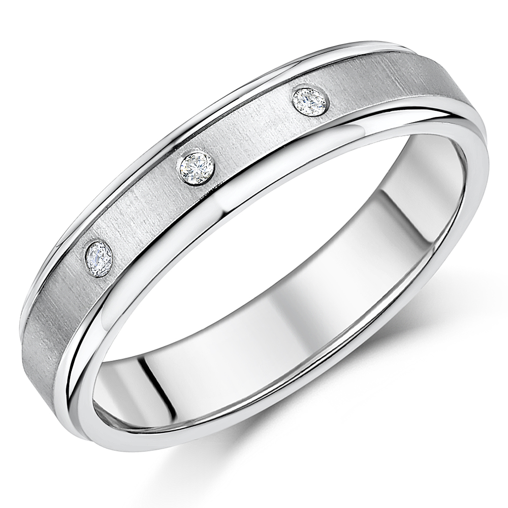 5mm Ladies Diamond Ring Titanium Engagement Wedding Ring Band Unisex