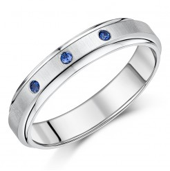 5mm Titanium Blue Sapphire Wedding Ring Band