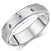 7mm Titanium Sapphire Wedding Ring Blue Sapphire Engagement Ring