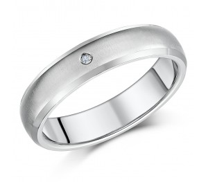 5mm Titanium Diamond Engagement Wedding Ring