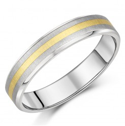 5mm Titanium & Gold Wedding Ring Band