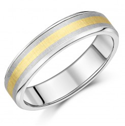 6mm Titanium & Gold Wedding Ring Band
