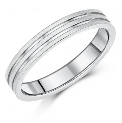 4mm Ladies Titanium Ring Multi Grooved Wedding Ring Band