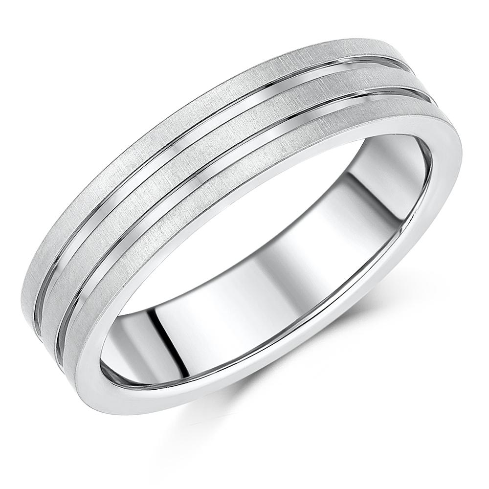 Titanium Ring Grooved  Court Shape Diamond Wedding 6mm Band