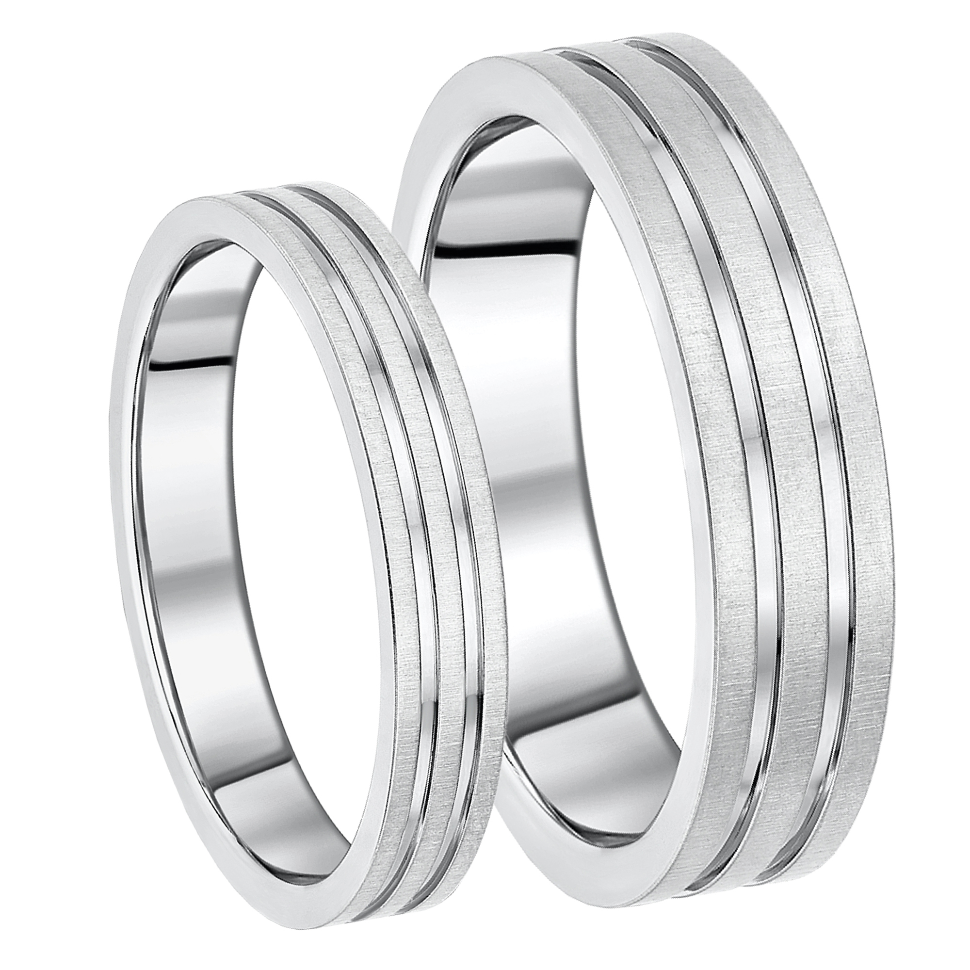 His & Hers Titanium Grooved Wedding Rings Grooved Design 4&6mm
