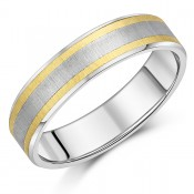 Titanium Wedding Ring Titanium & Double 9ct Yellow Gold Engagement Band 6mm