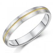 4mm Titanium & Gold Millgrain Centre Wedding Ring Band