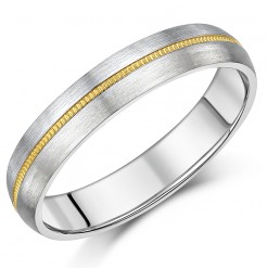 5mm Titanium & Gold Millgrain Centre Wedding Ring Band