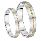 His & Hers Brushed Titanium & Gold Wedding Rings 4&5mm