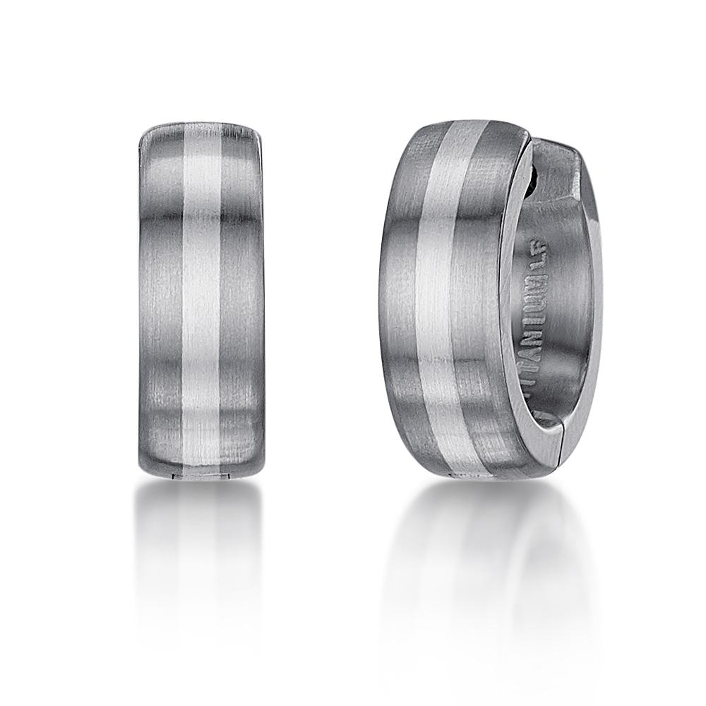 Titanium Silver Designed Hinged Hoop Earring