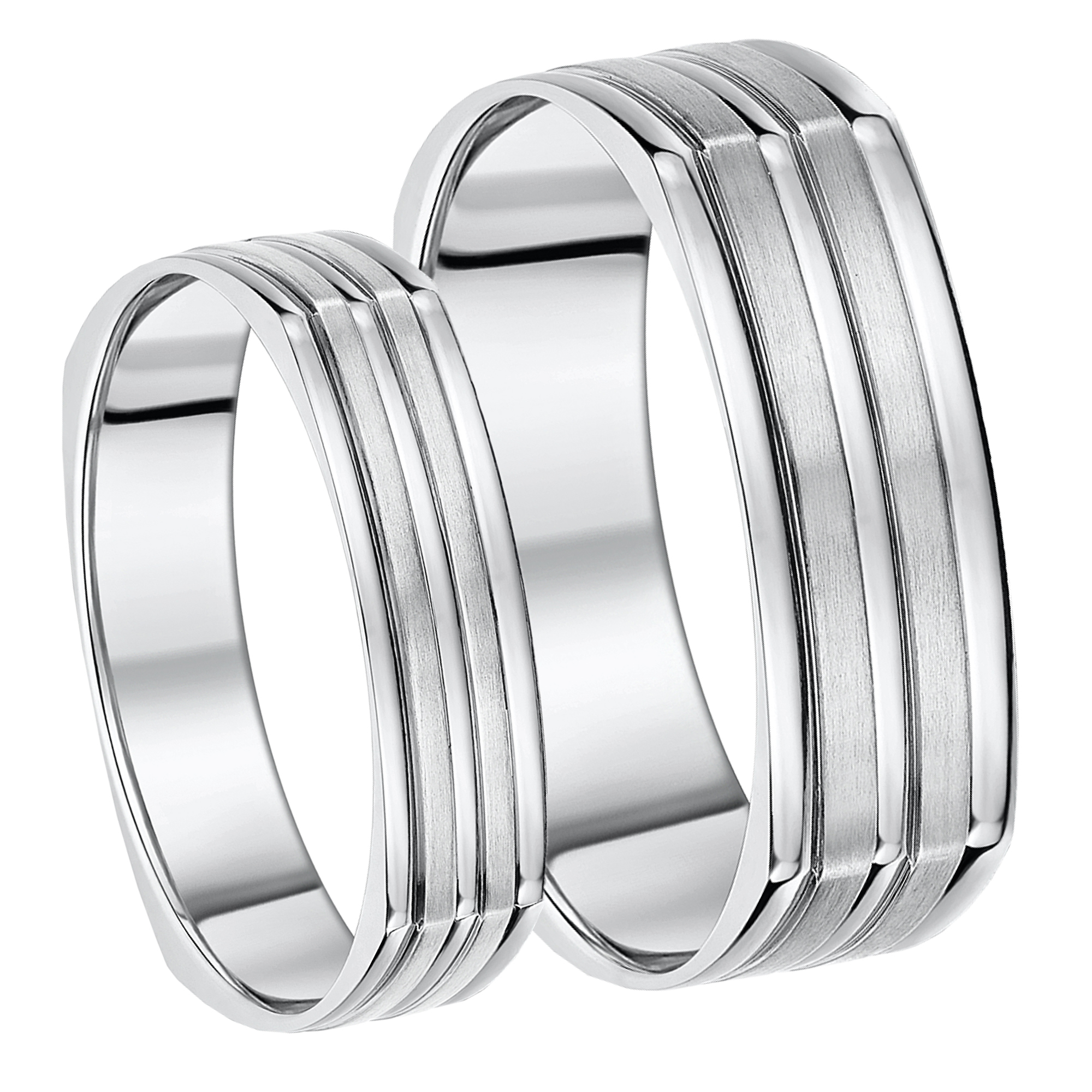 5&7mm His & Hers Titanium Square Shaped Wedding Bands