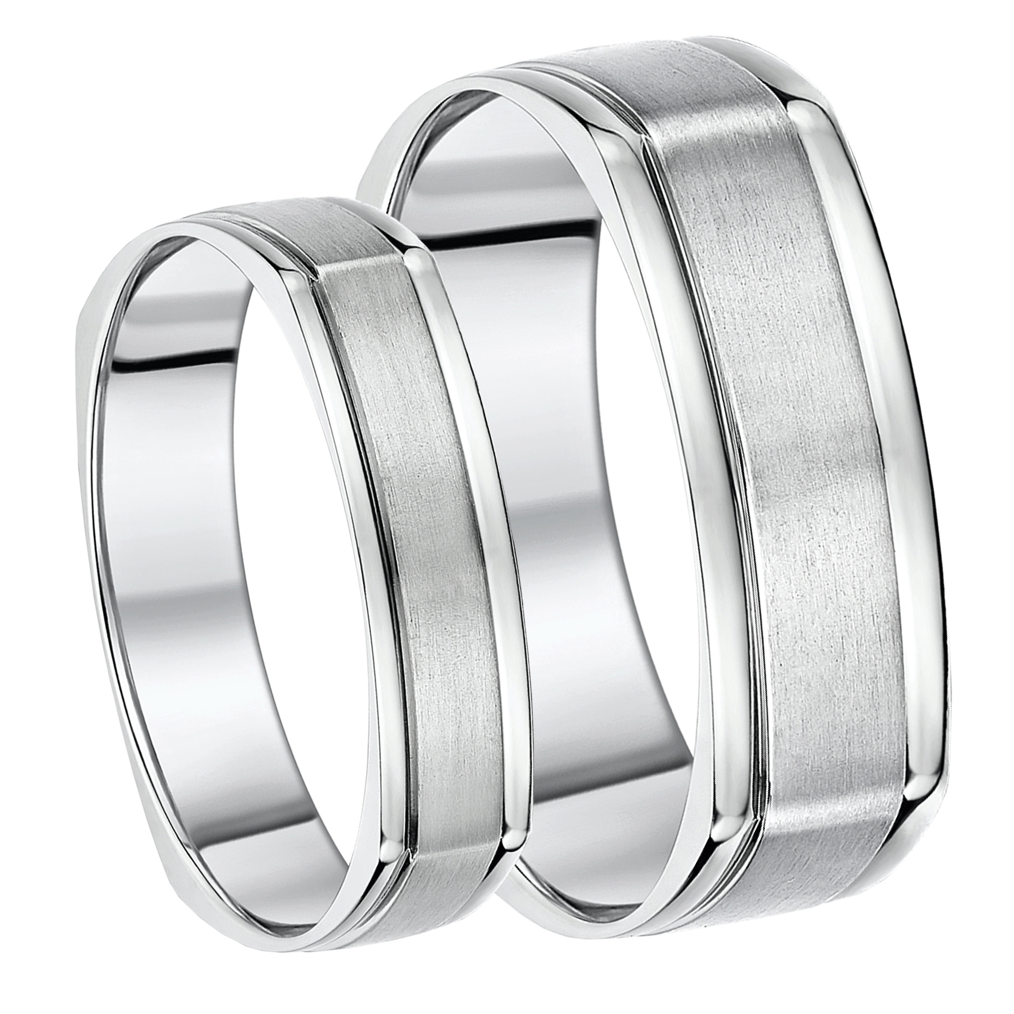 5&7mm His & Hers Titanium Square Matt and Polished Wedding Bands