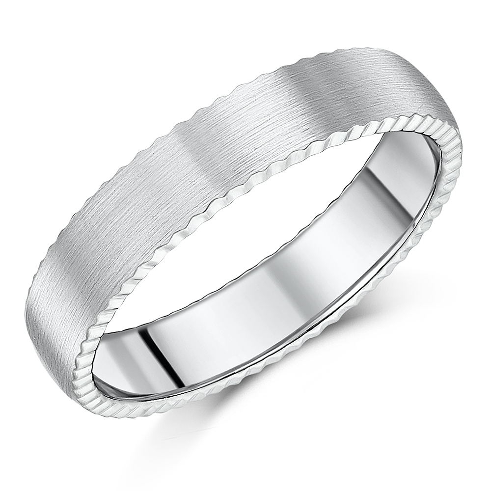 5mm Titanium Jagged Edge Wedding Ring Band