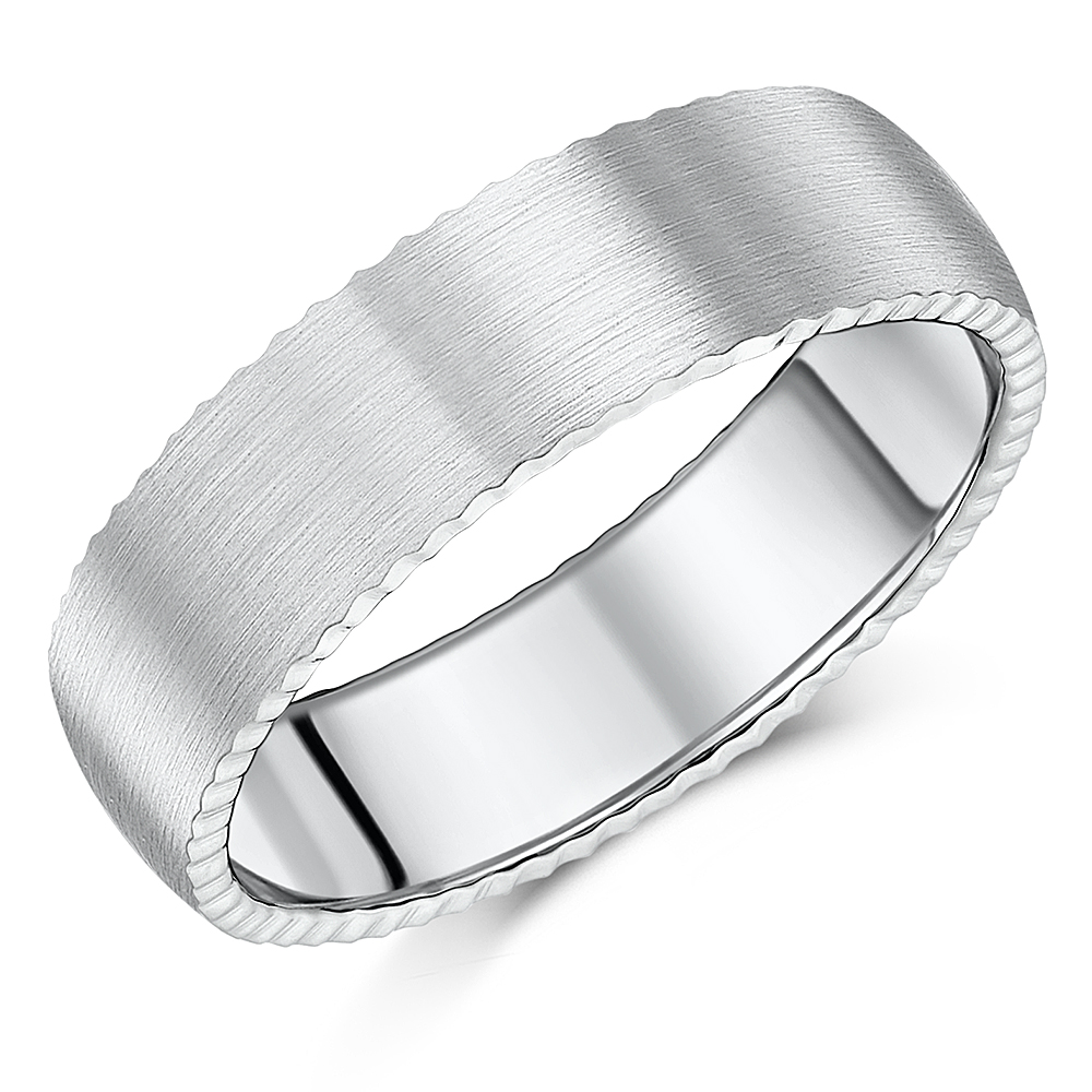 His & Hers Titanium Rings Jagged Edge Brushed Matt Matching 5&7mm Rings