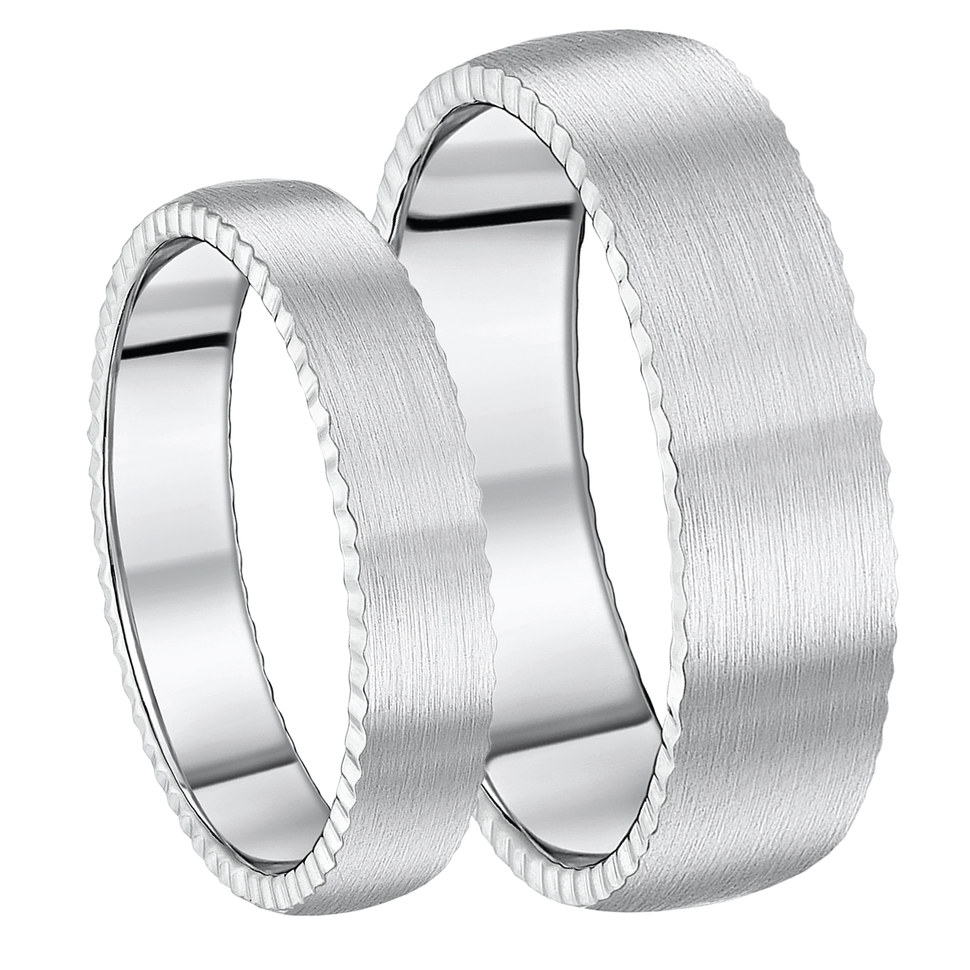 His & Hers Titanium Rings Jagged Edge Brushed Matt Matching 5&7mm Rings