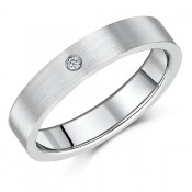 5mm Titanium Brushed Matt Diamond Wedding Ring Band