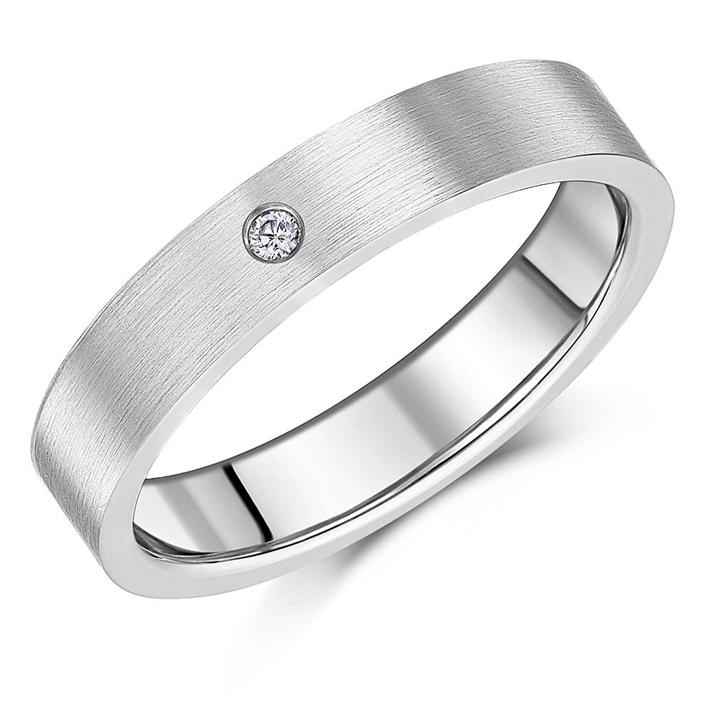 5mm Titanium Brushed Matt Diamond Wedding Ring Band