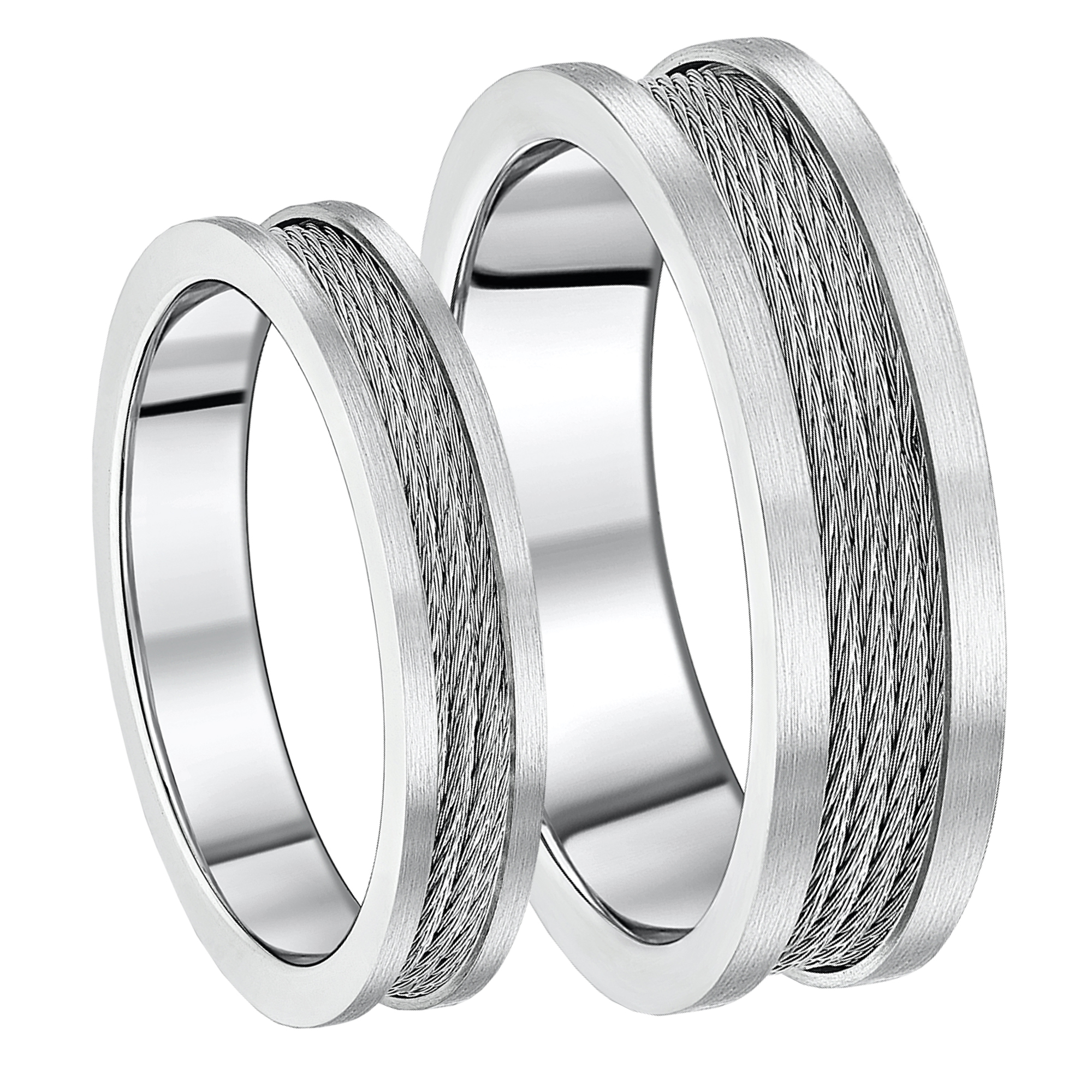 His & Hers Titanium Steel Cable Wedding Rings 5&7mm