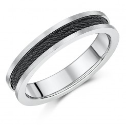5mm Titanium and Black Steel Cable Ring Unique Two Colour Band