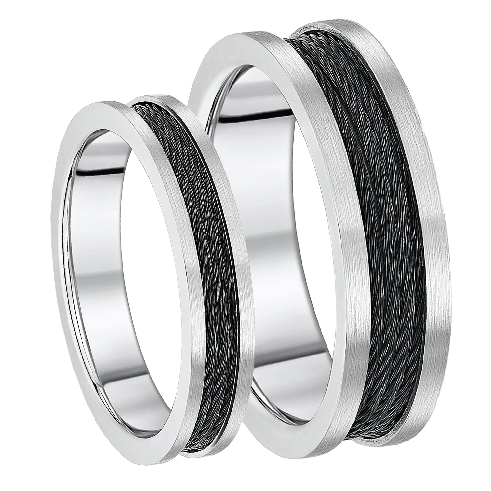 His & Hers Titanium Rings Matching Black Cable Engagement Wedding Rings