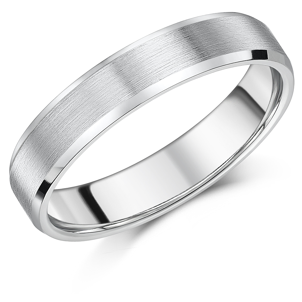 5mm Titanium Ring Matt & Polished Bevelled Edge Engagement Wedding Band